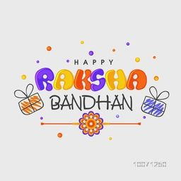 Elegant greeting card design with colorful text Happy Raksha Bandhan and beautiful rakhi on grey background for Indian festival, Raksha Bandhan celebration.