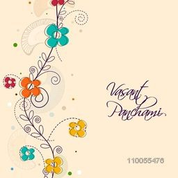 Happy Vasant Panchami, Hindu community festival celebration greeting card decorated by colorful flowers.