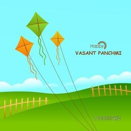 Happy Vasant Panchami, Hindu community festival celebration greeting card with saffron and green color kites flying in sky.
