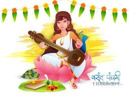 Hindu Community festival, Vasant Panchami celebration with Goddess Saraswati (Goddess of Knowledge) holding musical instrument (Veena) with flowers decoration on yellow color stroke.