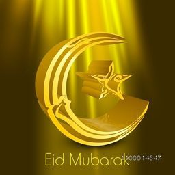 Creative Arabic Islamic calligraphy of text Eid Mubarak in 3D crescent moon and star shape on shiny background.