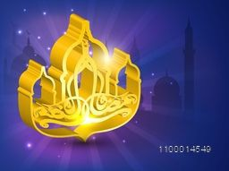 3D golden Arabic Islamic calligraphy of text Eid Mubarak on Mosque silhouetted background.
