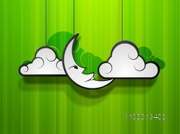 Moon with clouds on green abstract background, concept for Muslim community holy festival Eid Mubarak.
