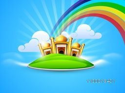 Golden Mosque and Masjid in the sky on rainbow and clouds background, concept for Muslim community holy festival Eid.