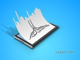 Arabic Islamic calligraphic text Eid Mubarak with Mosque or Masjid paper art design on blue background.