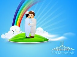 Arabic Islamic calligraphy of text Eid Mubarak with Muslim boys in tradition outfits standing in the sky and celebrate the holy festival on rainbow and clouds background. EPS 10