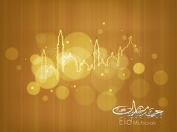 Shiny illustration of Mosque and Masjid with Arabic Islamic calligraphic text Eid Mubarak on brown background.