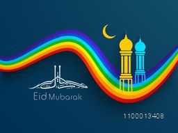 Arabic Islamic calligraphy of text Eid Mubarak with Mosque and Masjid image in golden moon night on colorful waves background.