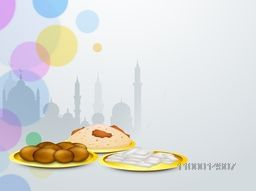 Delicious food on Mosque silhouette background for Islamic holy festival, Eid Party celebration.