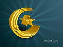 3D golden crescent moon and star with Arabic Islamic calligraphy of text Eid Mubarak for Muslim community festival celebration.