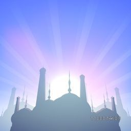 Creative Mosque on shiny rays background for Islamic festival, Eid Mubarak celebration.