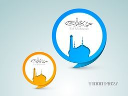Creative sticky design with Mosque and Arabic Islamic calligraphy of text Eid Mubarak for Muslim community festival celebration.