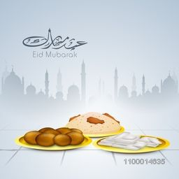 Delicious food on Mosque decorated background for Islamic festival, Eid Party celebration.