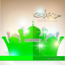Glossy green paper Mosque with Arabic Islamic calligraphy of text Eid Mubarak for Muslim community festival celebration.