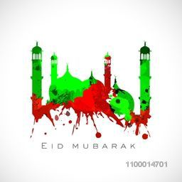 Creative Mosque made by colour splash for Islamic festival, Eid Mubarak celebration.