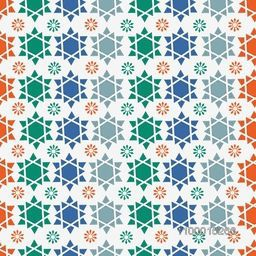 Colorful seamless background with Arabic or Islamic ornaments style pattern.