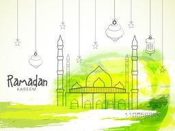 Stylish Mosque with hanging lanterns and stars for holy month of muslim community Ramadan Kareem.
