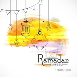 Elegant greeting card design decorated with mosque, hanging lantern and stars on color splash background for holy month of muslim community Ramadan Kareem.