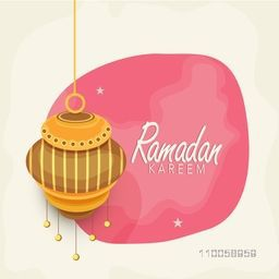Holy month of muslim community Ramadan Kareem celebrations with beautiful hanging lantern.