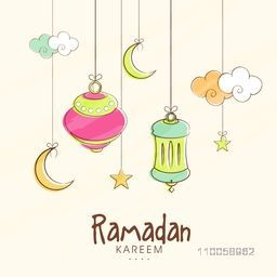 Elegant greeting card design decorated with beautiful hanging lanterns, crescent moons and clouds for muslim community festival Ramadan Kareem celebration.