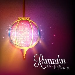 Beautiful floral design decorated hanging lantern on shiny background formuslim community holy month Ramadan Kareem celebration.