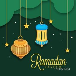 Creative greeting card design decorated with hanging lamps and stars on green background for muslim's holy month Ramadan Kareem celebration.