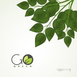 Save nature concept with green leaves and stylish text Go Green.