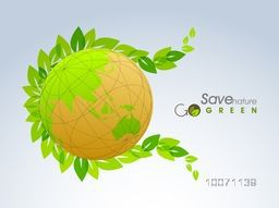 Stylish shiny globe with fresh green leaves on blue background for Save Nature concept.