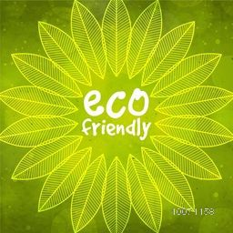 Creative pattern with shiny green leaves for Eco Friendly concept.