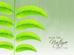 Shiny fresh green leaves on stylish background for Save the Nature concept.