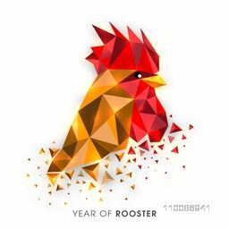 Creative illustration of a rooster in low poly design style on white background for Chinese New Year celebration.