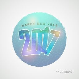 Elegant greeting card design with creative text 2017 for Happy New Year celebration.