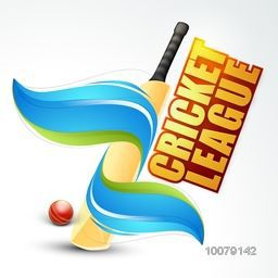 Creative glossy Bat covered by abstract waves and Ball for Cricket League concept.