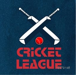 Creative text Cricket League with illustration of bats and ball on stylish background, can be used as poster, banner or flyer design.
