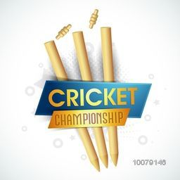 Glossy Wicket Stumps with Bails on grey background for Cricket Championship concept.