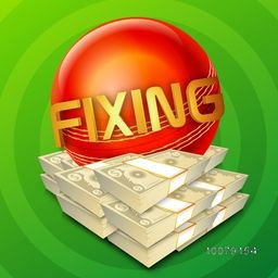 Cricket Match Fixing concept with illustration of glossy Red Ball and Bundles of Dollar on green background.