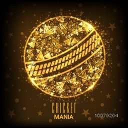 Creative abstract design decorated, Golden Ball on stars decorated background for Cricket Mania.