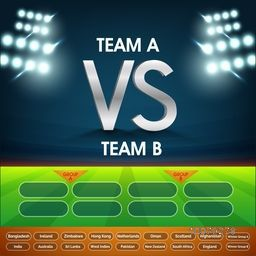 Cricket Match Schedule between Team A VS Team B on night stadium lights background.