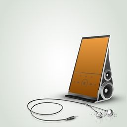 Stylish touch screen music player with earphones isolated on shiny background.