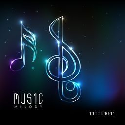 Musical notes made by neon light on shiny colorful background.