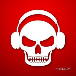 Human skull wearing headphone on red background.
