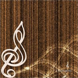 Musical sign in white underline with shiny waves on seamless brown background.