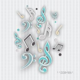 Musical notes on seamless light grey background.