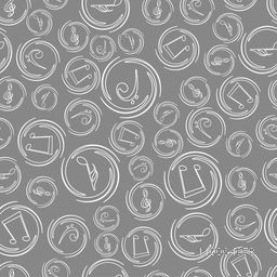 Musical notes on seamless grey background.