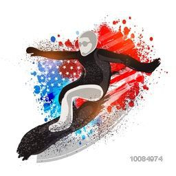 Creative illustration of a Surfer on American Flag colors abstract background for Sports concept.