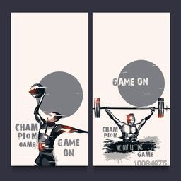 Website banner set with illustration of handball player and weight lifter for Sports concept.