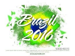 Stylish white text Brazil 2016 on Brazilian Flag colors abstract background, Can be used as Poster, Banner or Flyer design.