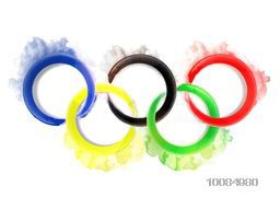 Colorful Five Rings made by watercolors on white background, Can be used as Poster, Banner or Flyer design for Sports concept.
