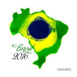 Map of Brazil in Brazilian Flag colors on white background, Can be used as Poster, Banner or Flyer design.