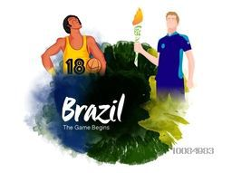 Illustration of a Basketball Player and Torch Bearer for Sports concept, Creative abstract background with watercolor splash, Can be used as Poster, Banner or Flyer design.